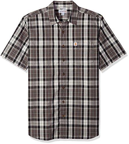 Carhartt Mens Big & Tall Essential Plaid Open Collar Short Sleeve Shirt