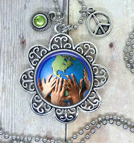We Are The World, Lovely Photo Image in a Setting. Adorned with a Green Swarovski Crystal & Peace Charm, Choose a Necklace, Backpack Clip, Keychain, Purse Clip. Great for Teacher's/Student's.