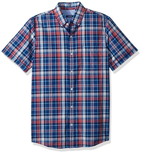 IZOD Mens Advantage Performance Easycare Plaid Short Sleeve Shirt