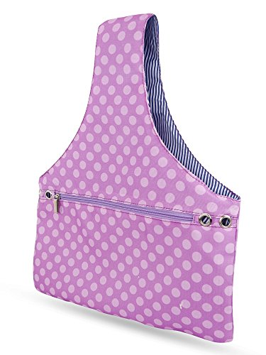 JamieCraft Yarn Bag - Portable, Light, and Easy to Carry Canvas Wrist Bag for Crochet and Knitting On The Go, Project Bag Holds Supplies and 14 Inch Needles or Hooks (Purple Dots)
