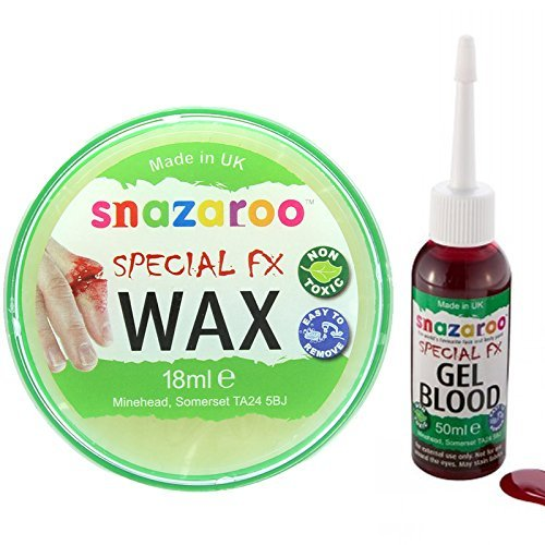 Water-Based Face & Body Make-up Kit with a Snazaroo 18ml Special FX Wax and a 50ml Bottle of Dark Gel Blood by Snazaroo