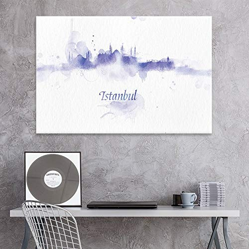 (Canvas Prints Wall Art - Canvas Wall Art - Impressionism Watercolor Style City Landscape of Istanbul - Giclee Print Gallery Wrap Modern Home Decor Ready to Hang - 24