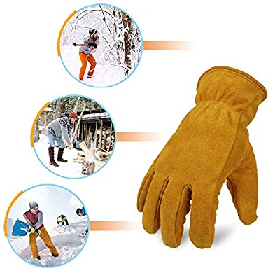 OZERO Winter Gloves Cold Proof Leather Insulated Work Glove Thick Thermal Imitation Lambswool - Extra Grip, Flexible and Warm for Working in Cold Weather for Men and Women (Gold,Medium)