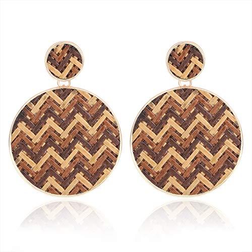LIAO Jewelry Rattan Earrings for Women Boho Handmade Weave Straw Drop Earrings Round Disc Statement Dangle ()