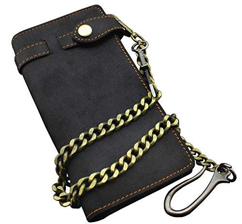 Mens Vintage Black Leather Biker Wallet Purse With Brass Cuban Link Key Chain (Link Chain Shoulder Leather Black Bag)