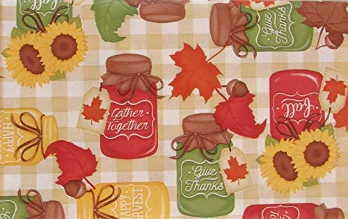 Mason Jars with Autumn Sentiments on Gingham Check Vinyl Flannel Back Tablecloth 52 x 70 Oblong Mainstream International