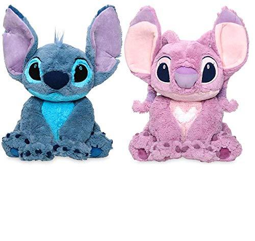 Disney Stitch & Angel Plush Set - Lilo & Stitch - Medium 15'' H (Seated, from Rear to tip of Ear)