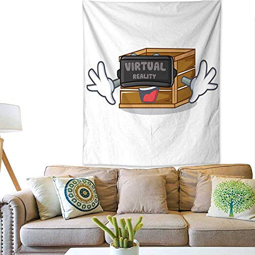 - Anyangeight Horizontal Tapestry with Virtual Reality Crate Mascot Cartoon Style 57W x 74L INCH