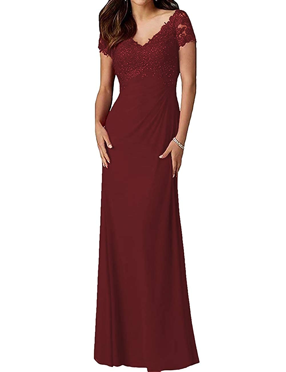 Dark Burgundy H.S.D Mother of The Bride Dresses Lace Formal Gowns Long Evening Dresses Short Sleeve