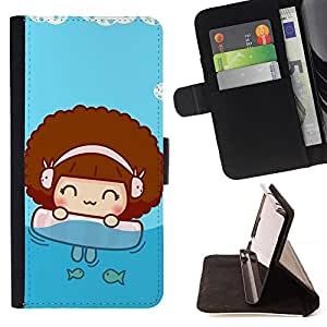 DEVIL CASE - FOR Sony Xperia Z3 D6603 - Cute Beach Girl - Style PU Leather Case Wallet Flip Stand Flap Closure Cover