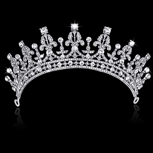 BABEYOND Crystal Queen Tiara Birthday Crown Rhinestones Pageant Quinceanera Crown Prom Princess Tiara Crown Bridal Wedding Crown Tiara Headband (Silver)