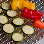 """Spring Chef Cooling Rack - Baking Rack - Heavy Duty, 100% Stainless Steel, Oven Safe 13 100% Solid 304 (18/8) Stainless Steel Construction - NO metal platings or coatings that can chip or scratch and transfer toxins/chemicals to your food Broil, Bake, Roast, Decorate or Cool with this versatile 10"""" x 15"""" rack. Try it for making crispy chicken in the oven, allowing grease to drip after frying foods, making baked potatoes, decorating cakes and more. Engineered for supreme durability and rust/warp-resistance with Heavy Gauge Steel. Grid size and 4 raised feet were specifically designed to allow optimal air circulation."""