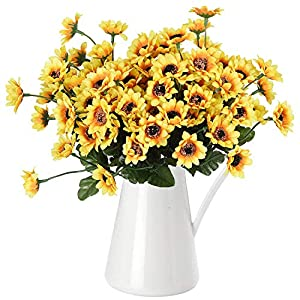 DearHouse 6pcs Artificial Sunflowers Bouquet, Wedding Flower Bouquet Sunflower Yellow Sunflower Silk Flower Arrangement for Home Kitchen Floor Garden Wedding Decor 46