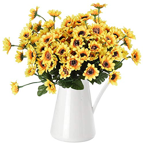 (DearHouse 6pcs Artificial Sunflowers Bouquet, Wedding Flower Bouquet Sunflower Yellow Sunflower Silk Flower Arrangement for Home Kitchen Floor Garden Wedding Decor)