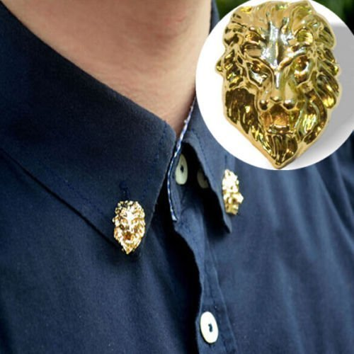 Gold Tone Cool Relief Lion Head Men Women Shirt Suit Collar Pin Badge Brooches