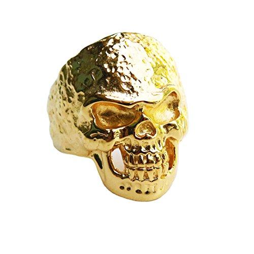 Kham Biker Ring 18 K Bonded Yellow Gold Men Hammered Finish Skull Ring (10)