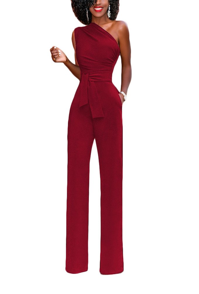 Sherro Women's Sexy One Shoulder Jumpsuits High Waisted Wide Leg Long Romper Pants with Belt