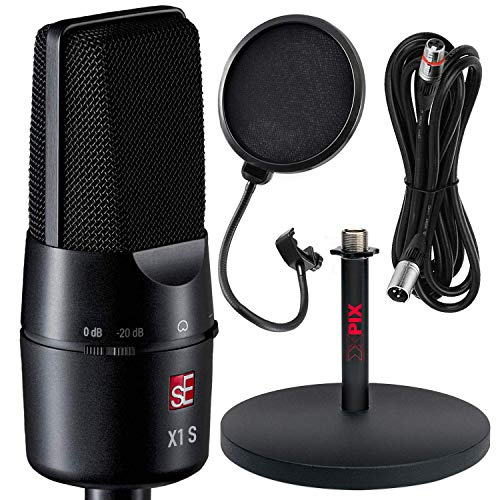 """sE Electronics X1 S Large-Diaphragm Cardioid Condenser Microphone with 6"""" Desktop Mic Stand and Accessory Bundle"""