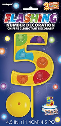 Flashing Multicolor Number Topper Decoration