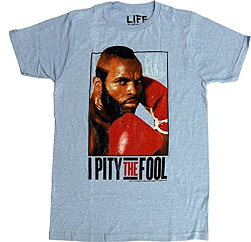 Rocky Clubber Lang Pity the Fool Light Blue Adult T-Shirt (Adult (Rocky Balboa Fight)