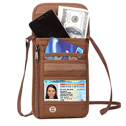 Price comparison product image DEW Travel Passport Holder Stash Hidden Neck Pouch RFID Blocking Travel Anti-Theft Hidden Wallet for SecurityWater Resistant Pocket Pouch Neck Passport Wallet (Brown)