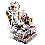 Sorbus Acrylic Cosmetic Makeup Organizer with Makeup Mirror - Jewelry Storage Case and Removable double sided 3X/1X Magnification Mirror - Spacious Design - for Bathroom, Dresser, Vanity (Clear)