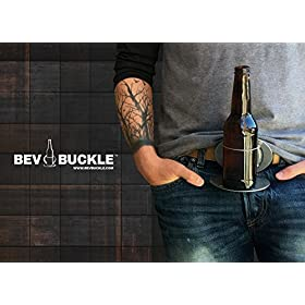 The BevBuckle for your belt! Holds your bottle or can so you can be hands free!
