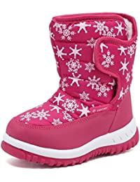 FANTINY Winter Snow Boots For Boy and Girl Outdoor Waterproof With Fur Lined(Toddler/Little Kids)