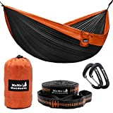 Double Camping Hammock with Adjustable Tree Straps & Aluminum Carabiners - Cozy Bed in the Nature - Two People or Single Person - Portable Parachute Nylon Hammock - Easy to Set Up and Take Down