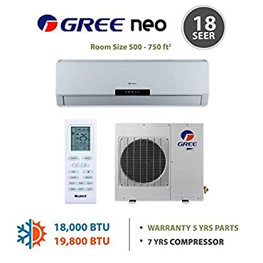 Gree NEO18HP230V1A 18,000 BTU 18 SEER NEO Wall Mounted Ductless Mini Split Air Conditioner with Heat Pump 220V