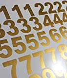 3'' Metallic Gold Custom Mailbox Numbers - Lot of 40 (4 of each number form 0 to 9) 3inch tall,Self Adhesive Vinyl Mailbox, Doors, Tool Box, Locker,Car,Truck,Address Decal Stickers (Arial BOLD)