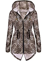 Meaneor Women's Long Sleeve Fishtail Leopard Print Raincoat Waterproof Jacket