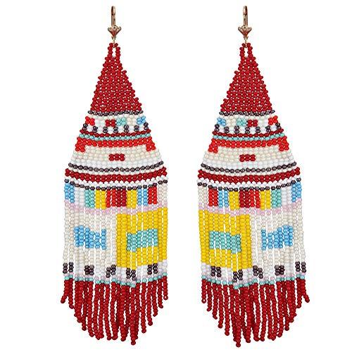 (El Allure Seed Bead Native American Style Inspired Multi Color Boho Patterned Fringe Trendy Handmade Preciosa Jablonex Seed Beaded Long Earring For Women)