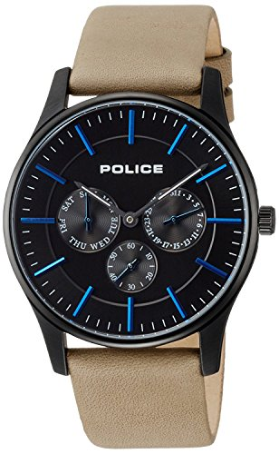 POLICE watch Courtesy Small seconds Day-Date leather band 14701JSB-02 men's [regular imported goods]