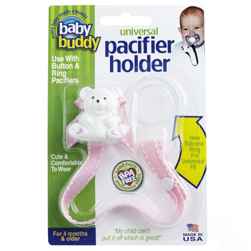 Baby Buddy Universal Pacifier Holder Clip - Snaps to Paci or Attach with Universal-Fit Silicone Ring - Pacifier Clip for Babies 4+ Months/Toddler Boys & Girls, Pink with White Stitch