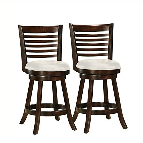 """CorLiving DWG-914-B Woodgrove Cappuccino Stained Swivel Counter Height Barstool with Leatherette Seat, 24"""" Seat Height, Set of 2"""