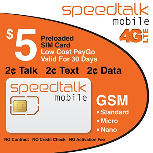 SpeedTalk Mobile 3-in-1 Prepaid Sim Card - NO CONTRACT - Preloaded with $5
