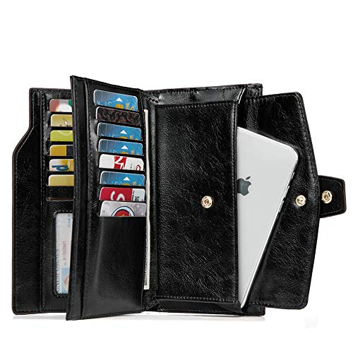 Organizer Long Women Ladies Oil Wallets Wax Black For Card Holders Large Clutch Leather 34qAjLR5