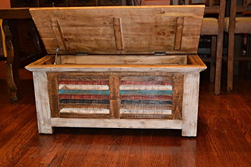Amazon.com: Crafters And Weavers Rustic Distressed Reclaimed Solid Wood  Painted Trunk Coffee Table: Kitchen U0026 Dining