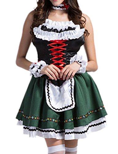 Ninimour Damen Traditionelles Trachtenkleid Dirndl Karneval Kostüm
