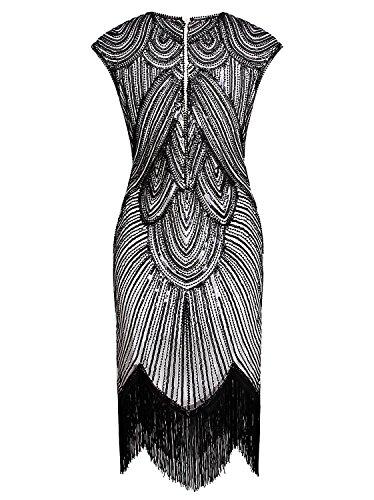 Negro Deco Gran vijiv Blanco charlestón de Gatsby Inspirado de borla Art vestido cuentas Pqxa5Tw6x