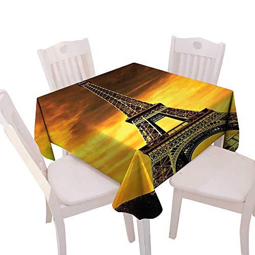 Spring & Summber Tablecloth Dinner Picnic Cloth Home Decoration,(W54 x L54) Eiffel Tower Decor Paris Love City Monument in Sunrise Picture ES.
