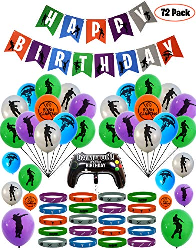 72 Pack Gaming Party Supplies Set - 50 Latex Balloons, 20 Party Favors Bracelets, Video Game Party Foil Balloon & Birthday Banner Decorations