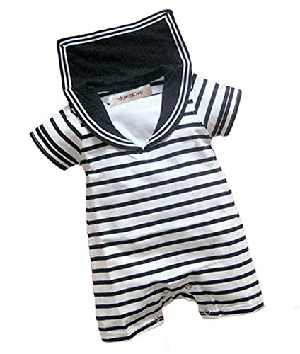Disney Prince Outfit - StylesILove Infant Toddler Baby Boy Two Tone Sailor Striped Jumpsuit (95/18-24 Months)