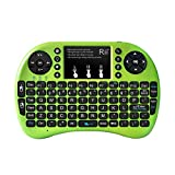 Rii® mini i8+ 2.4GHz Wireless KODI ,XBMC Keyboard with Touchpad Mouse, Chargeable Li-ion Battery, Silicone button ,Raspberry Pi 2, MacOS,HTPC, IPTV, Google Android TV Box ,Windows 7/8/10(Green with Backlit)