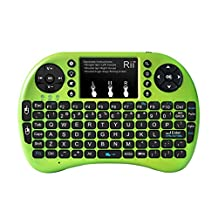 Rii i8+ Wireless mini Keyboard with Touchpad Mouse remote,LED Backlit, Rechargeable Li-ion Battery for Raspberry Pi 2/3, MacOS,HTPC, IPTV, Android TV Box ,Windows 7/8/10 (Green with Backlit)