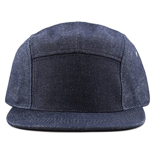 The Hat Depot Made in USA 5 Panel Flat Brim Genuine Leather Brass Cotton Biker Cap (Denim)