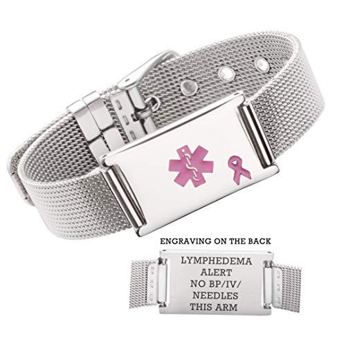 linnalove Lymphedema Alert No bp/iv/Needles This arm Stainless Steel Milanese Medical ID Alert Bracelet for Breast Cancer Adjustable