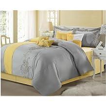 Chic Home Ann Harbor 8-Piece Comforter Bedding Set, Yellow/Grey, Queen