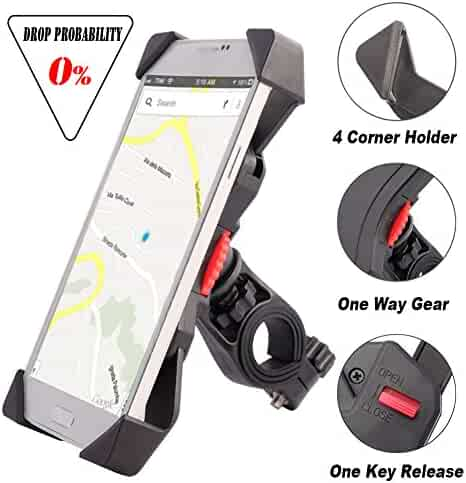 visnfa Bike Phone Mount Anti Shake and Stable Cradle Clamp with 360° Rotation Bicycle Phone mount / Bike Accessories / Bike Phone Holder for iPhone Android GPS Other Devices Between 3.5 to 6.5 inches